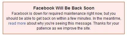 Facebook 3-13-19 epic fail error message