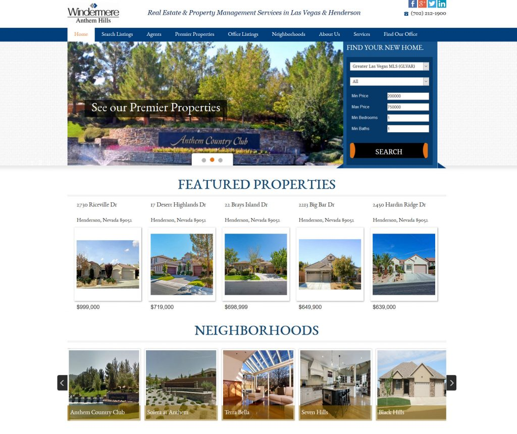 Windermere Anthem Hills website by Hunter Marketing Group